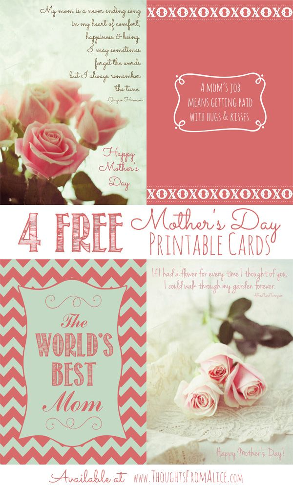 Thoughts from Alice: Free Printable Cards for Mother's Day