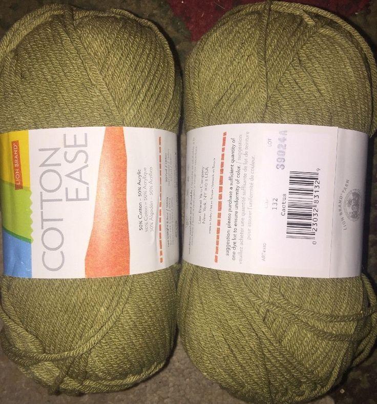 2 Skeins Lion Brand Cotton Ease Cactus  3.5 oz 207 Yds Color 132  #LionBrand