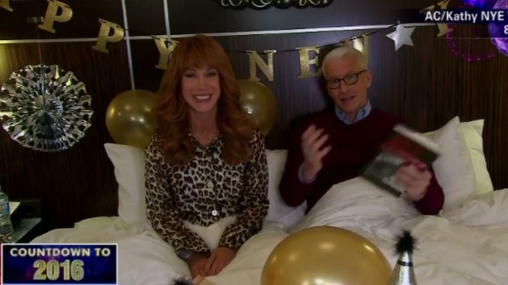 "Kathy Griffin and Anderson Cooper Kick Off NYE in Bed Together  It only takes minutes for the CNN host to break into his signature giggle as the comedian presses him on his ""sexual relationship"" with Caitlyn Jenner. Later she parades around Times Square without a shirt and spray tans her co-host.  read more"