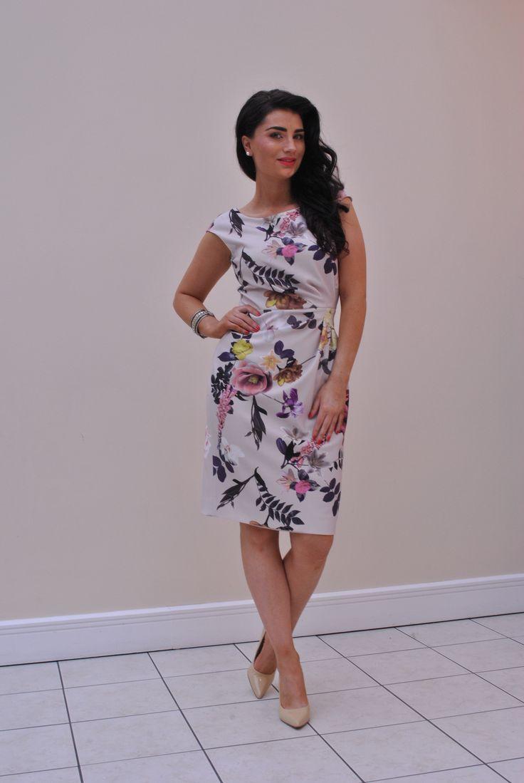 Buy Dress Here > https://www.mcelhinneys.com/aideen-bodkin-canto-floral-print-pencil-dress-beige/
