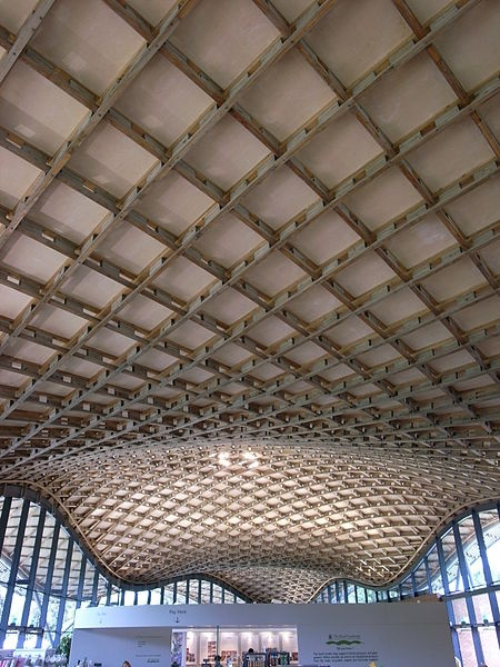 Saville building. Surry, England. This displays a very simple pattern yet due to the shape of the roof (curved) creates a very interesting and dinamic design. It is very structured but due to the large room, it create impace in a empty space.