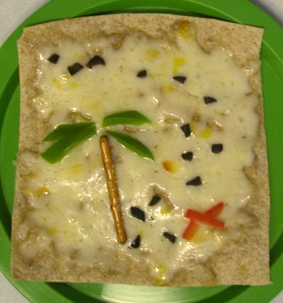 """Pirate Party Treasure Map Quesadilla  -trim tortilla into a rectangle using scissors and sprinkle with grated cheese. Make an X out of red pepper or tomato.  Cut palm leaves out of pieces of green pepper and use a pretzel stick for the tree trunk.  Make """"footsteps"""" with little bits of black olives.  Add whatever map details you can think of."""