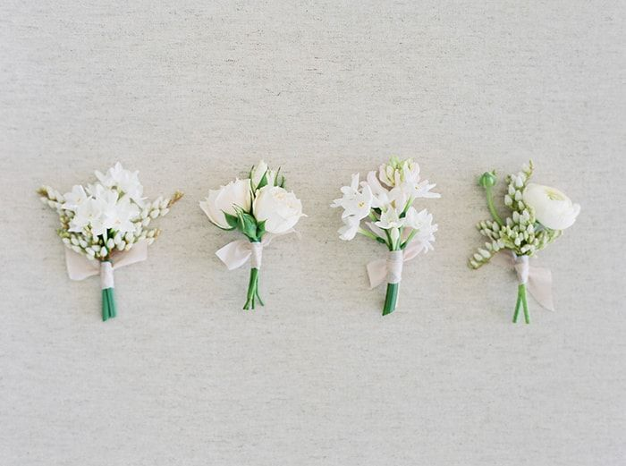 Simple white boutonnières
