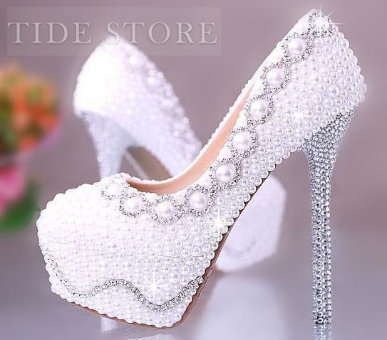 Amazing Sparkle Pearls Platform Stiletto Heels Bridal Shoes, Women Shoes Online