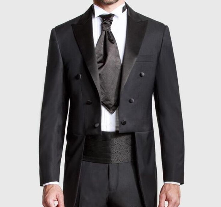 ==> [Free Shipping] Buy Best Custom Made Black Groom Tailcoat Pant Suit Peaked Lapel Long Tail Men Wedding Suits Bridegroom Best Groomsmen Wedding Tuxedo Online with LOWEST Price | 32817724850
