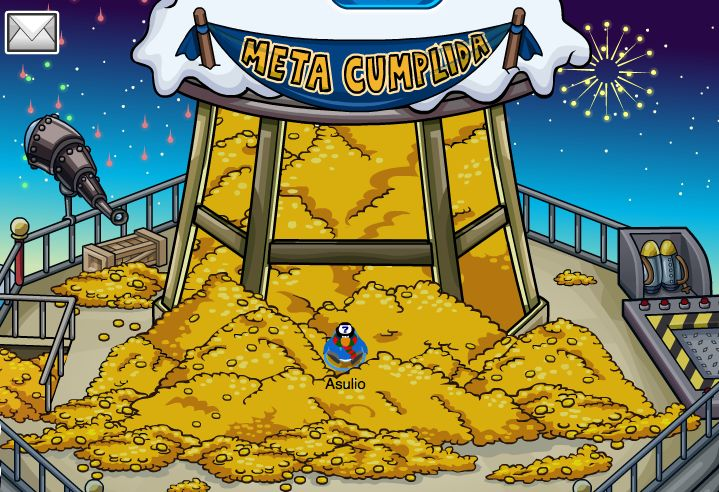 en club peinguin gane muchas monedas cuando cumpli la meta de jet-pak