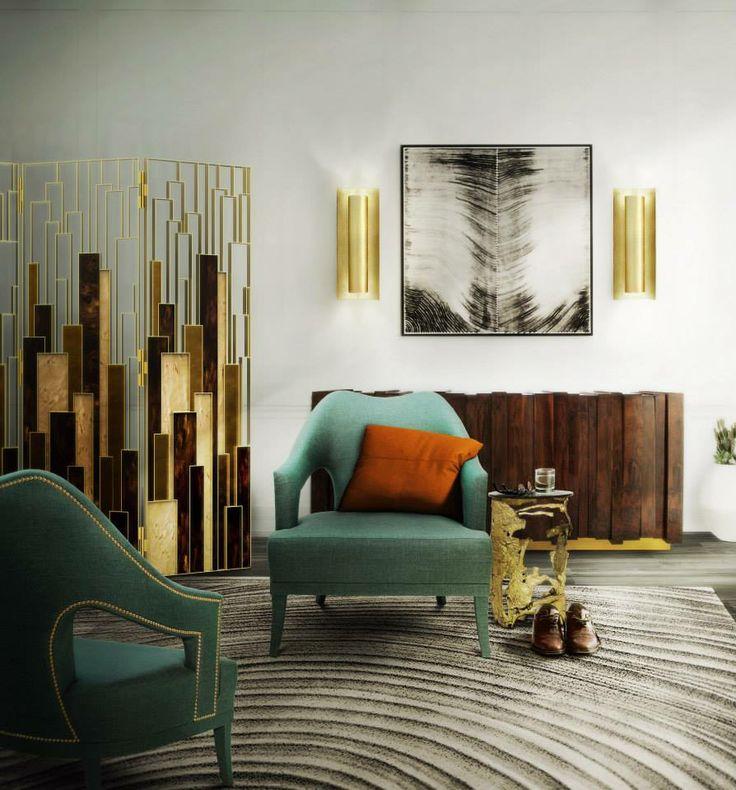 Modern interior design inspiration: adding brass accents in a living room #homedecor #interiordesign #brassaccents See more at www.brabbu.com