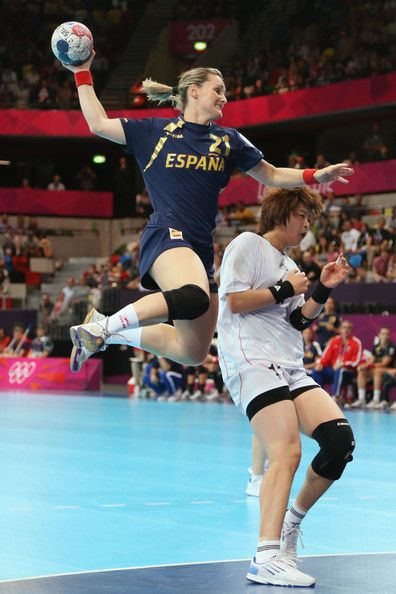 Vanessa Amoros Quiles of Spain scores a goal in the Women's Handball preliminaries Group B - Match 2 between Spain and Korea on day one of the London 2012 Olympic Games at the Copper Box on July 28, 2012 in London, England.