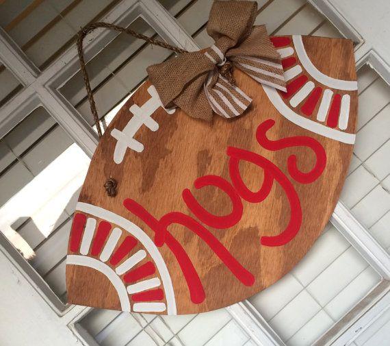 Arkansas Razorback HOGS Football Door Hanger by arhjohnston on Etsy