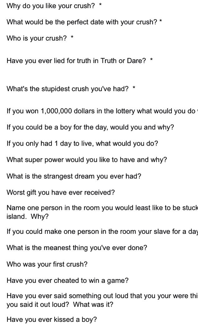 Truth Or Dare Questions To Crush
