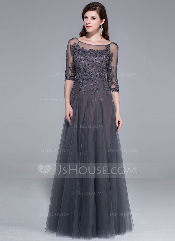A-Line/Princess Scoop Neck Floor-Length Tulle Evening Dress With Lace Beading Sequins (017025440) - JJsHouse