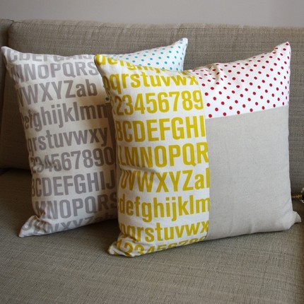 """Cushion Cover by Spinspin: Hand screen printed on hemp/organic cotton/linen. 17.7"""" square with a zip closure. $49 ea. Australia."""