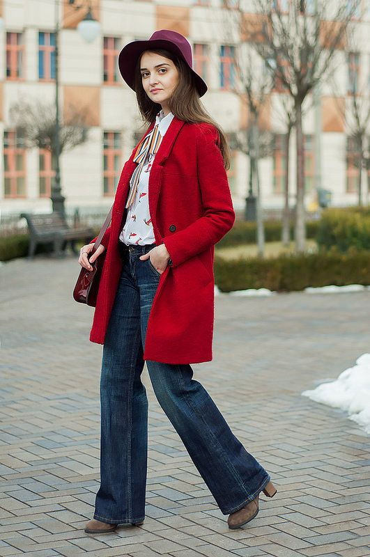 outfit // black bear | animal arithmetic http://www.animalarithmeticblog.com/2016/03/outfit-black-bear.html  ZARA red wool coat // SheIn white bow birds print blouse // Tommy Hilfiger flared wash jeans // SheIn wine red casual fedora hat // The Leather Satchel Company patent oxblood mini satchel // SammyDress khaki heeled boots