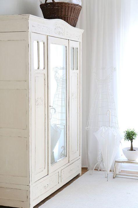 Nice Antiker Kleiderschrank mit Spiegel shabby chic schrank antiker k chenschrank