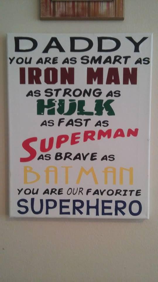 superhero dad canvas art #superhero #daddy #canvas #handpainted #superman #batman #hulk #ironman