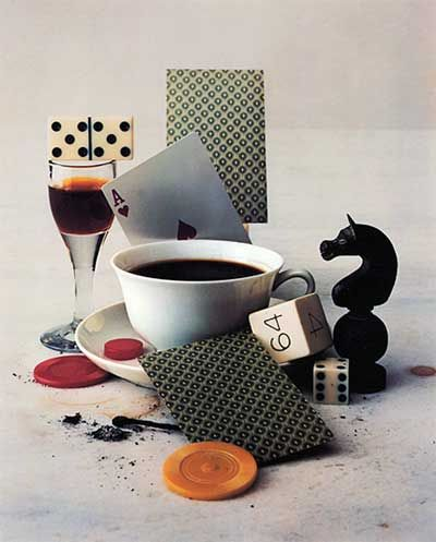 Irving Penn- I feel that this image can be seen as both female and male; male as it has many male related items such as cards which can be further related to gambling. But, on the other hand the delicate handle of the tea cup.