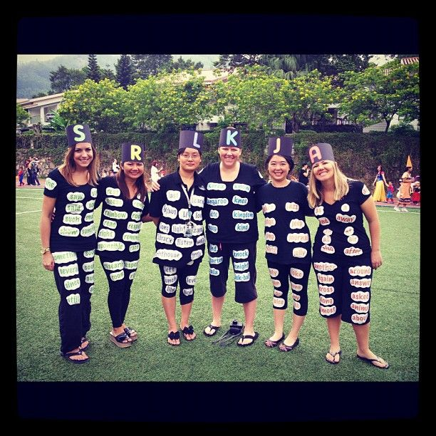 Teacher Costume Idea- My team, TA's and I dressed up as word wall words. We used 2nd grade HF words printed on sticky paper (we used the letter of our first name), easy/cheap/cute costume!
