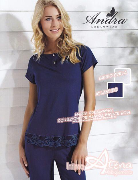 Collezione #Andra #Dreamwear primavera estate 2014. Ancora novità in negozio nella vetrina dedicata ai pigiami donna; pigiama collo a serafino e mezza manica in morbido cotone. http://www.abbigliamentointimoatena.com/163-pigiami-estivi