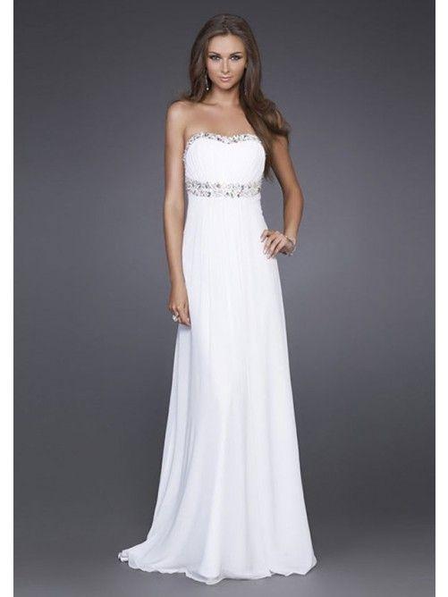 A-line/Princess Stroppeløs Beading Naturlig Floor-length Chiffon Prom Dresses