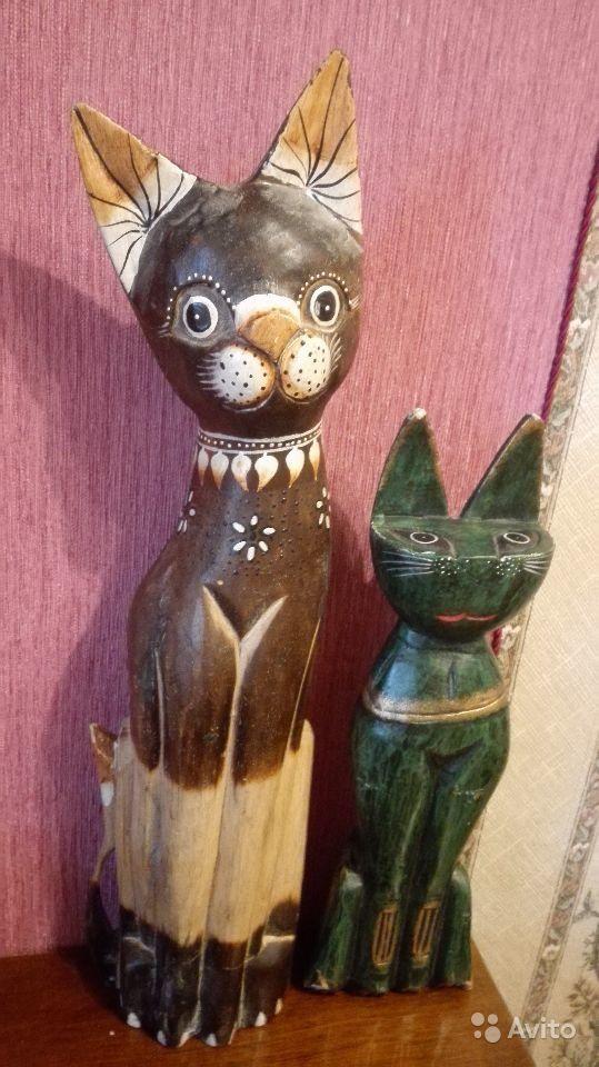 Деревянные фигуры котов. 2шт 50 и 35 см