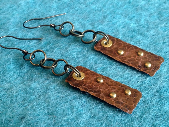 Studded Copper Chain  handmade earrings by jennamahshie, $18.00 http://www.copperandteal.com