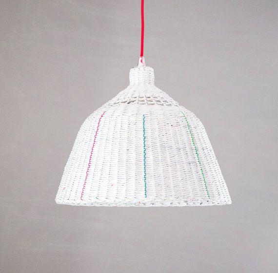 Industrial hanging eco paper lamp Minimal designer pendant light White lamp Unique Sustainable Handmade Paper lamp Oryginal - Folk Loft