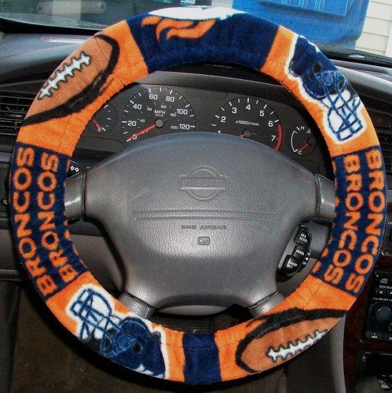 Steering wheel cover Denver Broncos by CarolsCustomCovers on Etsy, $10.00