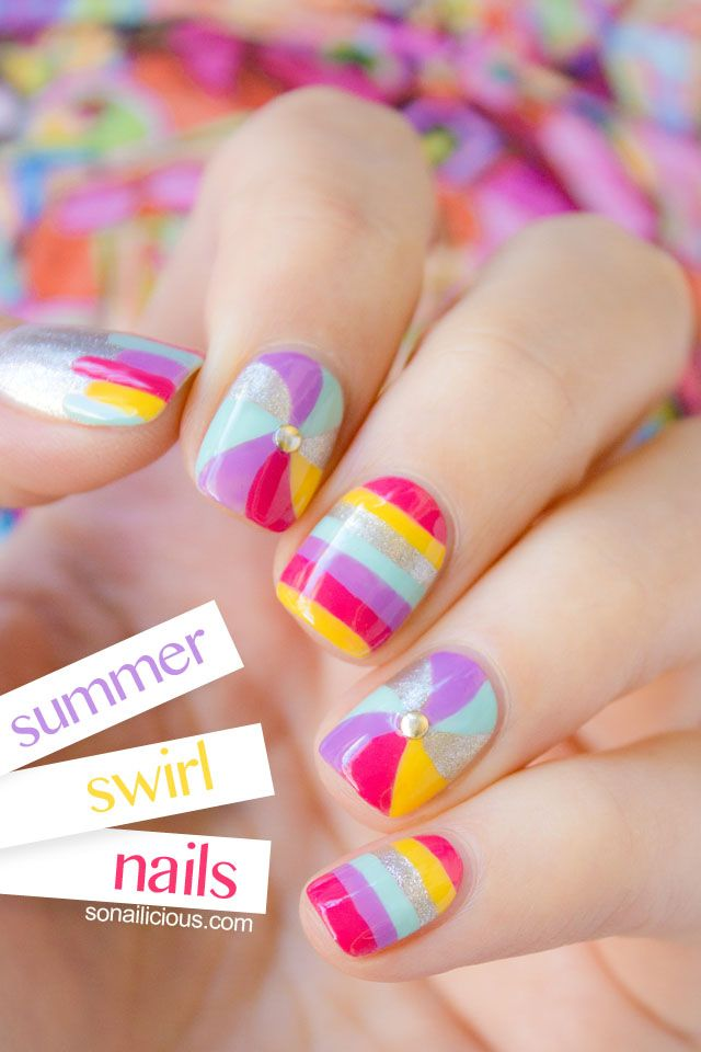Summer Swirl Nails art: five color colour design: mint green blue (Essie Mint Candy Apple), pink (Essie Fiesta), purple (Essie Play Date), silver (Maybelline Pedal to the Metal) and yellow (Maybelline Tangerine Tangy) stripes and swirls | #SoNailicious #summer 2013
