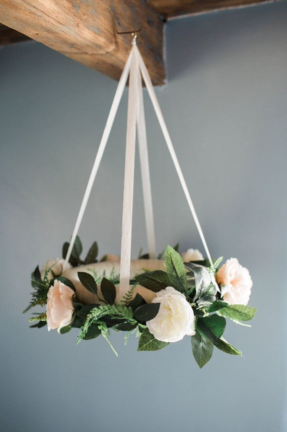 Flower mobile, floral baby mobile, ivory and blush garden roses, bohemian flower mobile, nursery decor, baby mobile, flower chandelier
