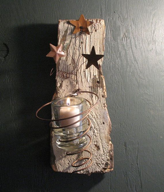 Reclaimed Bed Spring Rustic Wood Candle Sconce on Etsy, $18.00