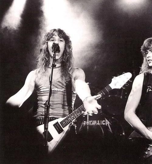 James Hetfield, with Dave Mustaine.  Metallica, early years.