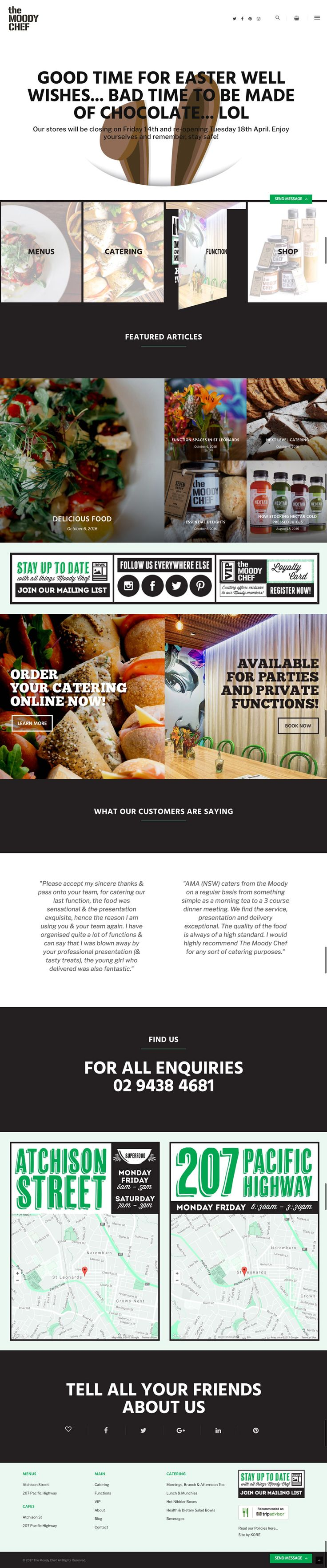 The Moody Chef Easter homepage by KORE Responsive WordPress website. http://kore.digital About web page view.