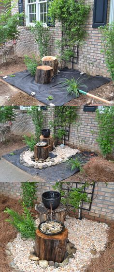DIY Container Fountains | DIY Log Fountain Instructions: Dig a hole and place plastic bin in ...