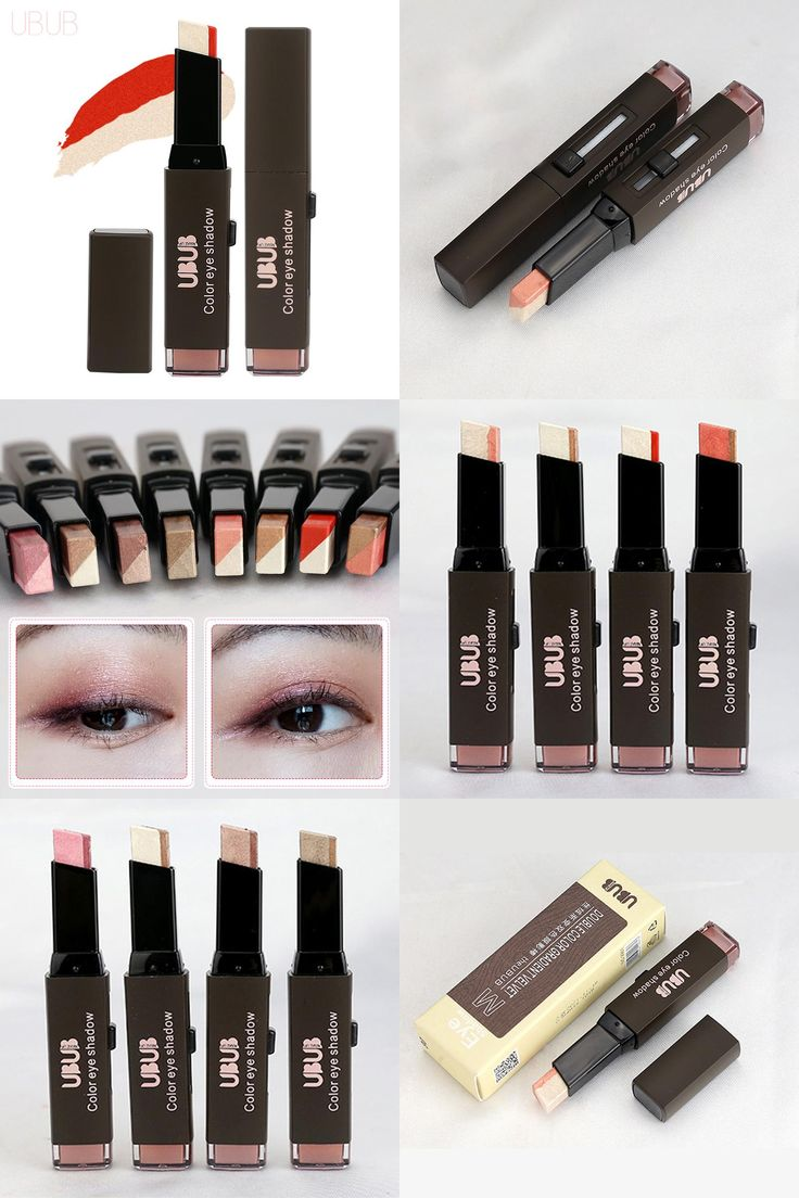 [Visit to Buy] UBUB Eyes Makeup Double Color Velvet Shimmer Eyeshadow Stick Earth Color Eye Shadow Cream Pen Brand Makeup Palette Cosmetics #Advertisement