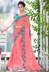Coral Pink Silky Chiffon Saree  https://www.ethanica.com/products/coral-pink-silky-chiffon-saree