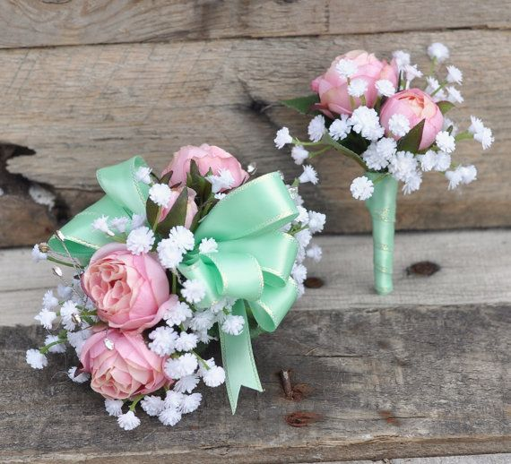 Prom Corsage and Boutonniere Set Pink Roses by Hollysflowershoppe