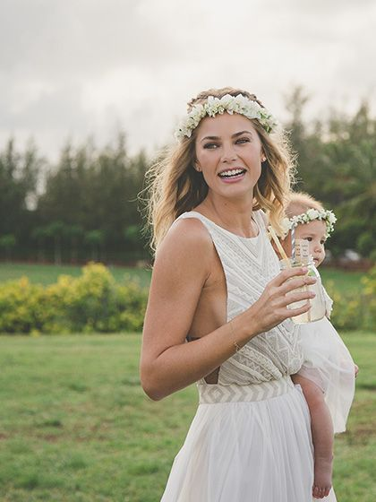 Wedding beauty inspiration: boho wedding floral crown with hair down | allure.com