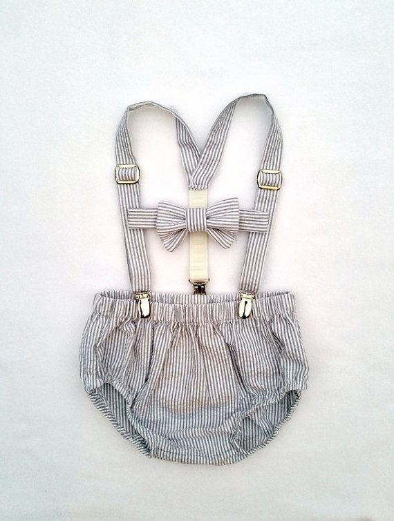 Baby Boy Photo Outfit - Gray and White Seersucker bow tie, suspenders, and diaper cover Ready to Ship This gray and white seersucker set is the