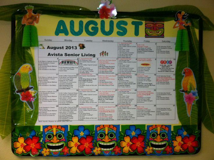August Assisted Living Calendar 2013