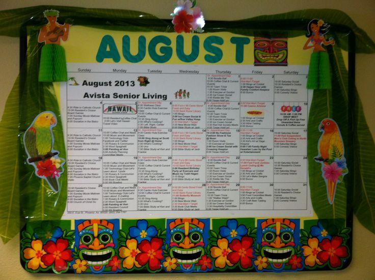 August Assisted Living Calendar 2013
