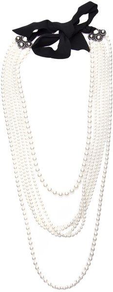 Lanvin Multiple Strand Pearl Necklace