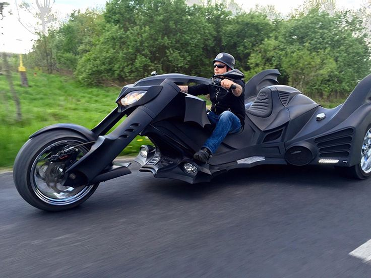 A Custom Batmobile Trike Motorcycle Resembling Batman's Vehicle From the 'Batman' and 'Batman Returns' Films