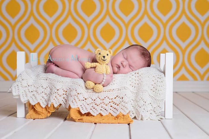 Crocheted yellow teddy bear Photo  by Little Angels by Medine