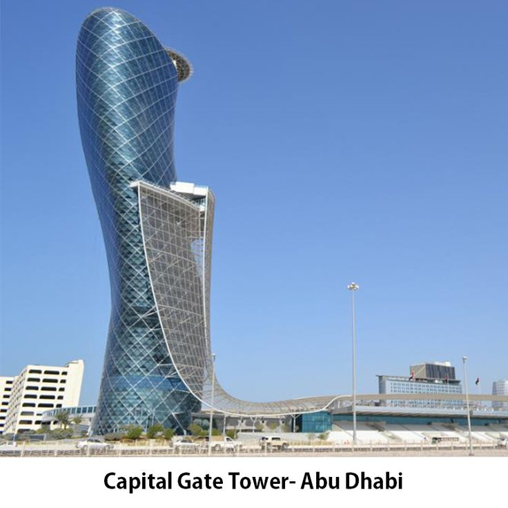 #CapitalGateTower– Abu Dhabi The contractor of Capital Gate tower, Abu Dhabi was Al Habtoor Engineering Enterprises. The structure is supported by a total of 490 foundation piles driven 20 to 30 meters underground and contains 8,250 steel diagrids that are all different in terms of thickness, length and orientation.