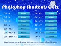 Photoshop Keyboard Shortcuts Quiz - Starter Activity (copy, paste, transform, select, layers, zoom) by Matt Smith - UK Teaching Resources - TES
