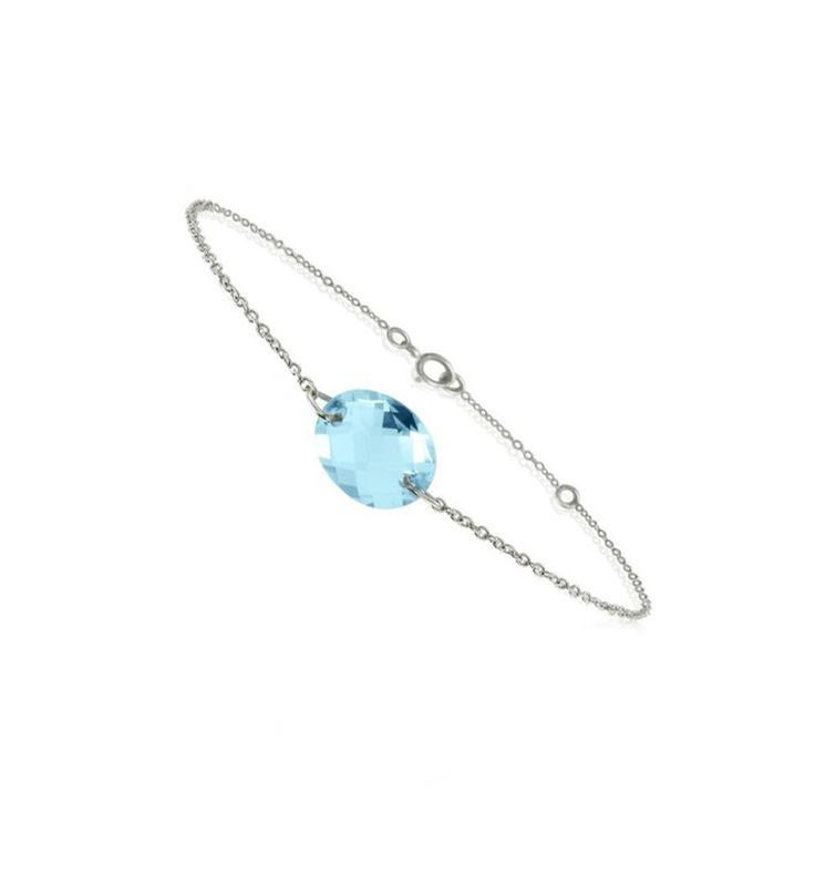 Bracelet chaîne en or blanc 18 carats et pierre bleu Topaze - Be Jewels - #bracelet #topaze #jewel
