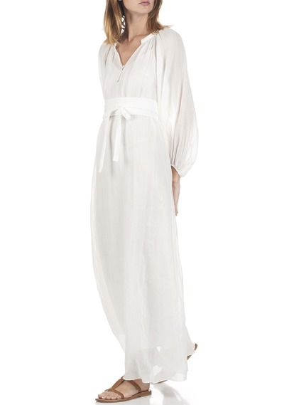 Robe longue en ramie avec ceinture  Blanc by VANESSA BRUNO