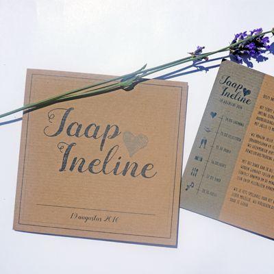 Trouwkaart Jaap & Ineline | Ontwerp door Cortine Design | www.cortinedesign.nl | #cortinedesign #trouwkaart #savethedate #wedding #save #the #date #trouwen #kraft #kaart #weddingcard #weddingannouncement #kraft #blue #tijdlijn #timeline