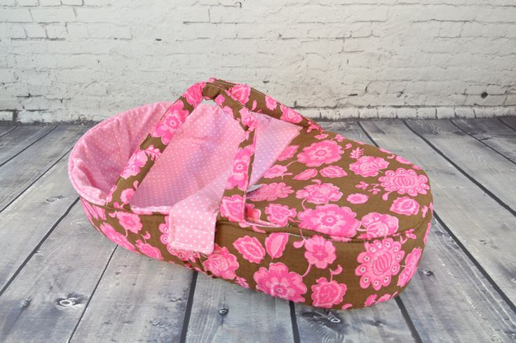 """doll carrier for children, flowers, American doll, Bitty baby 15"""" size doll accessory - only for dolls, pink chocolate brown by BagitKid on Etsy"""