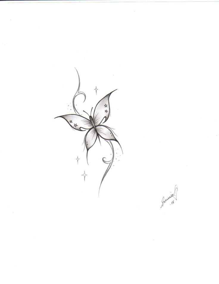 Simple Tiny Butterfly Tattoo Design